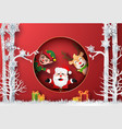 santa claus reindeer and elf in forest vector image vector image