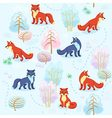 Seamless pattern of winter forest with foxes betwe vector image vector image