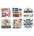 seden icons travel holidays and swedish culture vector image