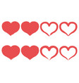 set of brush heart icon handmade drawing label vector image vector image