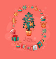 set of christmas toys and christmas tree vector image vector image