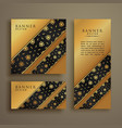 set of three premium golden cards banners design vector image vector image