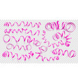 set realistic pink ribbons on transparency vector image vector image