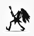 silhouette of cartoon guitarist image vector image