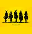 silhouette samurai warrior riding horse vector image vector image