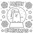 snow globe with a snowman coloring page black vector image vector image
