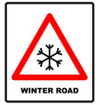 snow warning sign weathered with snowflaces vector image