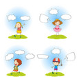 speech bubbles with simple characters vector image