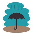 umbrella with rain silhouette vector image