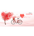 Valentine background with heart shaped tree vector image