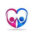 valentines couple of love heart shape logo vector image vector image
