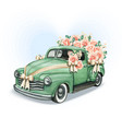 wedding pickup with roses and jute bows vector image