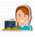 woman with portfolio and coins isolated icon vector image vector image