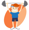Hipster funny man lifting barbell Flat style vector image