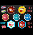set of retro promotion discount sale guarantee tag vector image