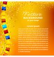 Festive orange background with garland vector image