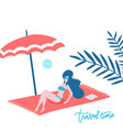 beautiful cute happy tan woman lying on beach vector image
