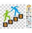 bitcoin business climbing help icon with bonus vector image vector image