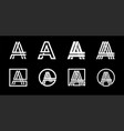 Capital letter a modern set for monograms logos vector image