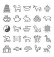 chinese culture line art icons with zodiac animals vector image vector image