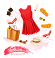Collage of summer clothing and accessories vector image vector image