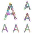 Colorful ellipse fractal font - letter A vector image vector image