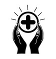 contour hands with cross medicine symbol to help vector image vector image