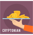 cryptonian concept hand hold golden coin backgroun vector image vector image