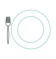 dish and fork icon vector image vector image