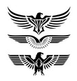 eagle head wing fly logo black icon tattoo vector image vector image