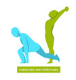 exercises and stretches with two bodies doing vector image
