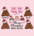 funny christmas cards with poop emoji and santa vector image
