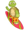 Funny Turtle Surfing vector image vector image