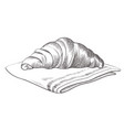 hand drawn croissant lying on cloth isolated vector image vector image