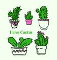 hand drawn of cute cactus in pots vector image vector image