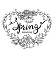 hand lettering words spring is coming with floral vector image
