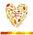 heart watercolor autumn leaves vector image vector image