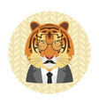 hipster tiger with glasses mustache and necktie vector image