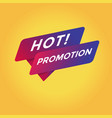hot promotion tag sign vector image vector image