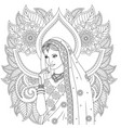indian girl coloring pages vector image vector image