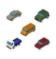 isometric car set of autobus car armored and vector image vector image