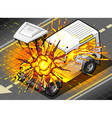 Isometric White Cross Country Vehicle in Explosion vector image vector image