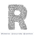 letter r symbol of white leaves vector image