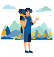 male tourist in minimalist style cartoon flat vector image