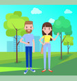 man and woman everyday apparel in park vector image vector image