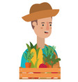 man with wooden basket with tag avatar character vector image vector image
