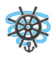 marine anchor helm wheel and rope icon vector image