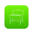 metal barbecue icon green vector image vector image