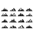 mountain large natural rock with snow top icon set vector image vector image
