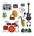 Music and musical instruments line icons vector image vector image
